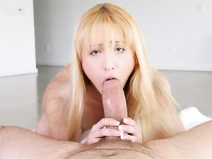 Petite Cocksucking Blonde Girl Loves His Dick
