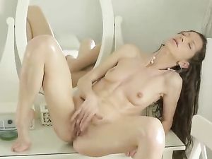 Elegant Solo Teenager Strips And Plays With Her Clitoris