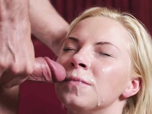Big Facial Load For The Cum Craving Blonde Beauty