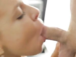 Cock Swallowing Schoolgirl Bends Over His Table For Dick