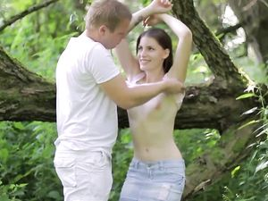 Couple Makes Sweet Love In The Middle Of The Woods