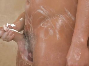 Asian Angel Jerking Off A Long Cock In The Shower