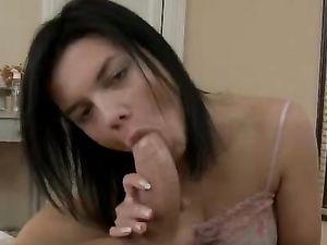 Pierced Tongue Beauty Blows Him Until He Pounds Her