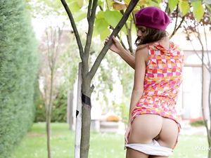 Upskirt Flirting In The Garden With A Cutie