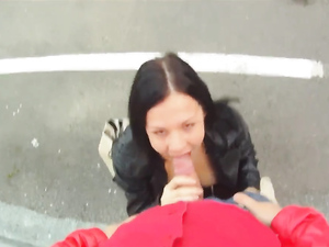 Cute Babe In A Leather Jacket Fucks In The Parking Lot