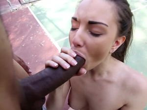 Big Black Cock For Her Tight Pussy In The Outdoors