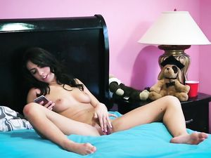 Giving Hard Cock To The Masturbating Brunette Beauty
