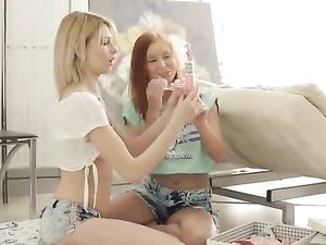 Breathtaking Lesbians Try Out Their New Dildo